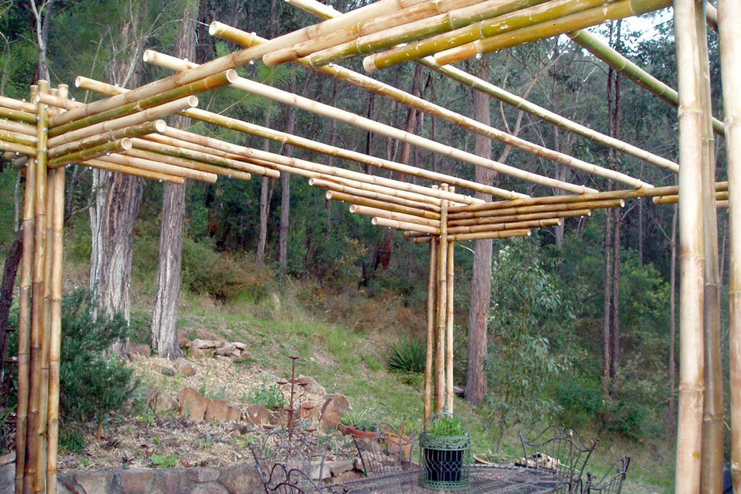 Finished structure with the pergolas on top adding rigidity to the structure. They will also provide support for growing vines.